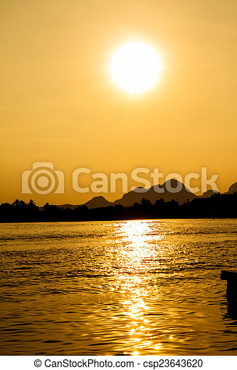 Sunset on the river - csp23643620