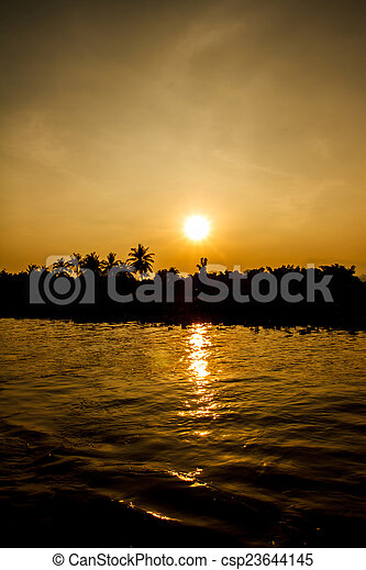 Sunset on the river - csp23644145