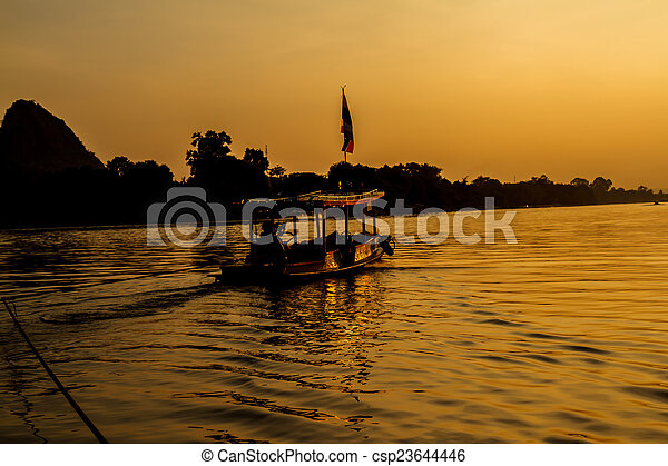 Sunset on the river - csp23644446