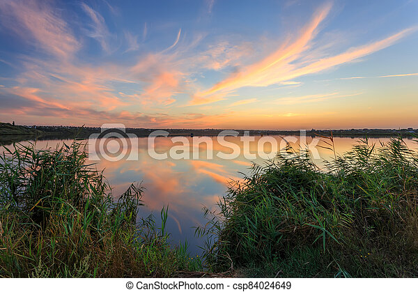 sunset on the river - csp84024649