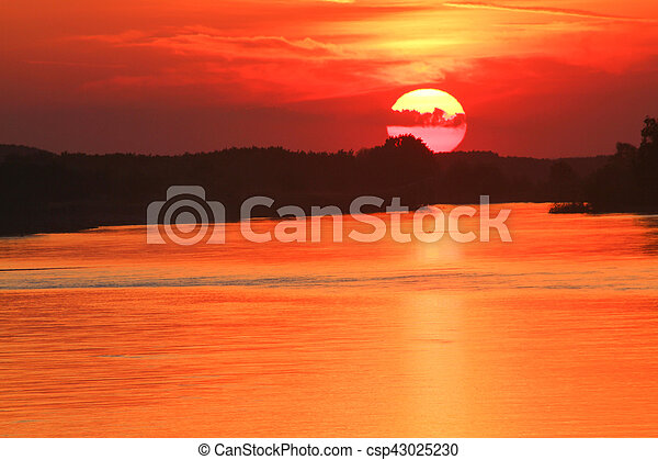 Sunset on the river - csp43025230