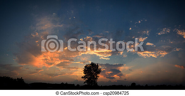 sunset on the sea in the evening - csp20984725