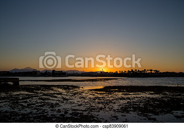 sunset on the sea with palm trees in the evening - csp83909061