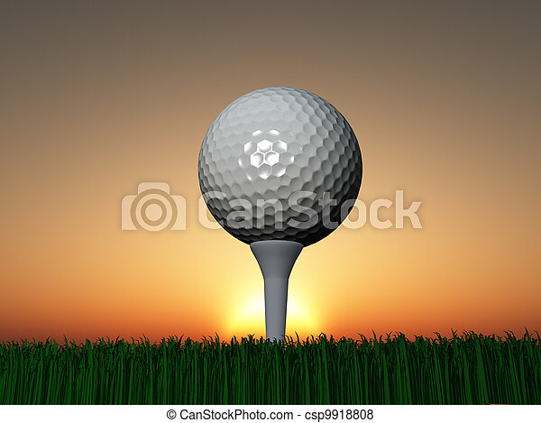 Sunset or Sunrise Golf - csp9918808