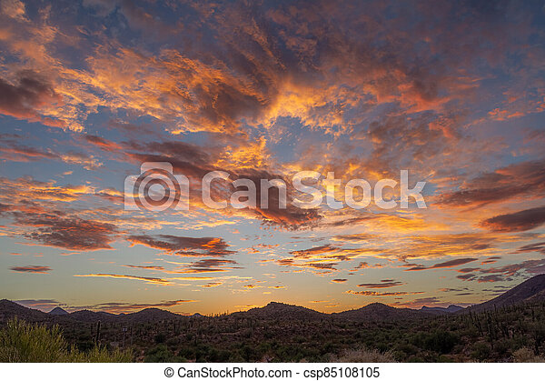 Sunset over a mountain landscape in the Sonoran Desert - csp85108105