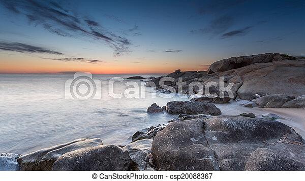 Sunset over Algajola beach in Corsica - csp20088367