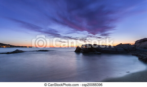 Sunset over Algajola beach in Corsica - csp20088396