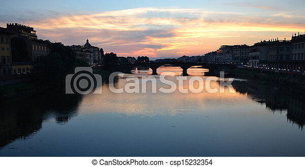 Sunset over Arno river - csp15232354