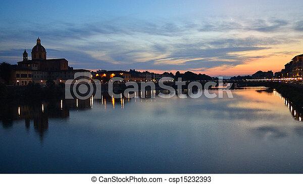 Sunset over Arno river - csp15232393