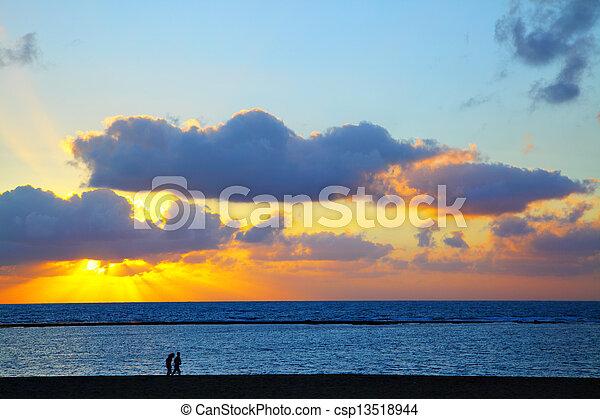 Sunset over Atlantic Ocean - csp13518944