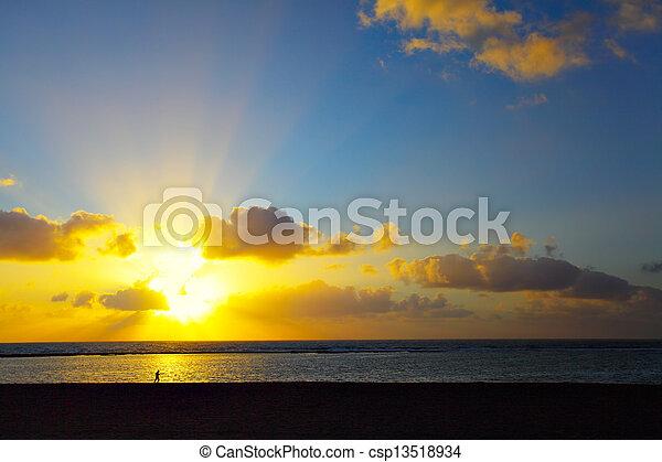 Sunset over Atlantic Ocean - csp13518934