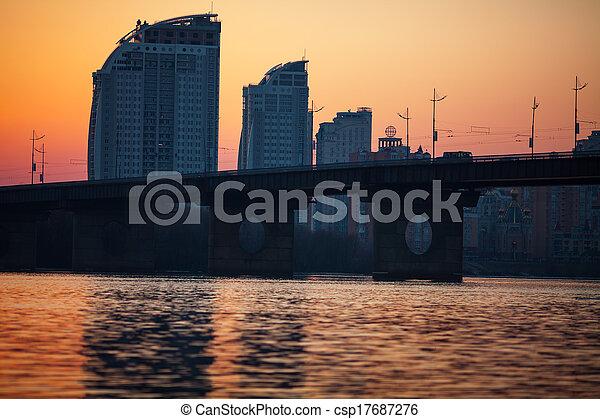 sunset over bridge - csp17687276