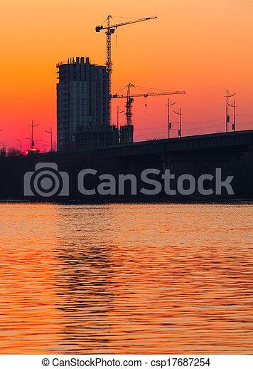 sunset over bridge - csp17687254