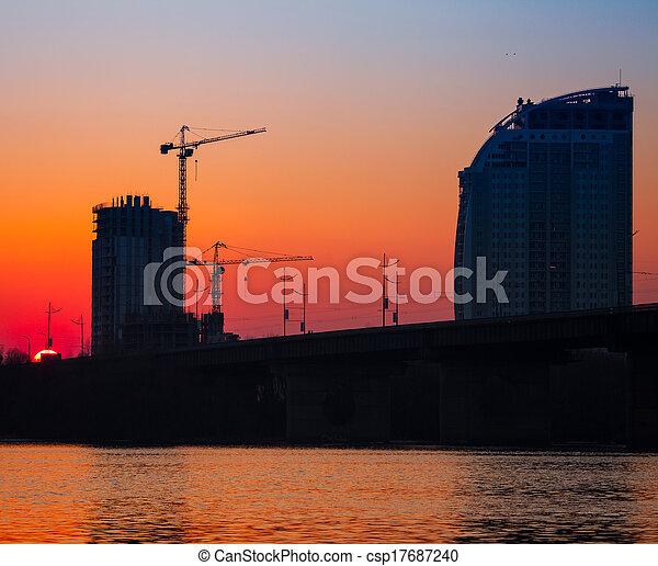 sunset over bridge - csp17687240