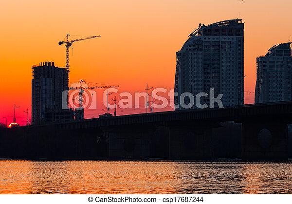sunset over bridge - csp17687244