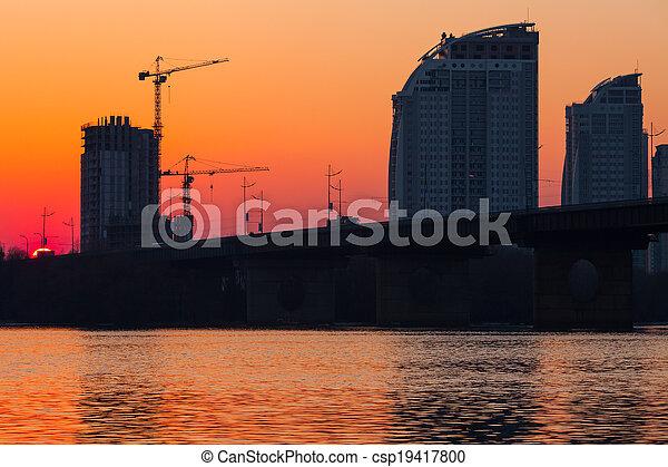 sunset over bridge - csp19417800