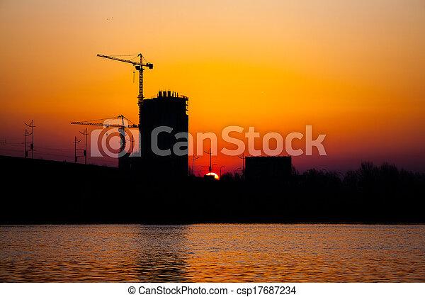 sunset over bridge - csp17687234