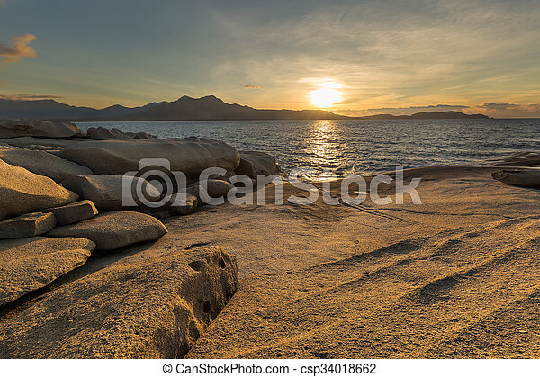 Sunset over Calvi in Corsica - csp34018662