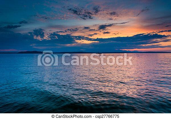 Sunset over Elliott Bay, seen from West Seattle, Washington. - csp27766775