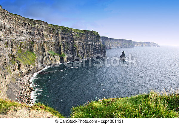 sunset over famous cliffs of moher county clare, ireland - csp4801431