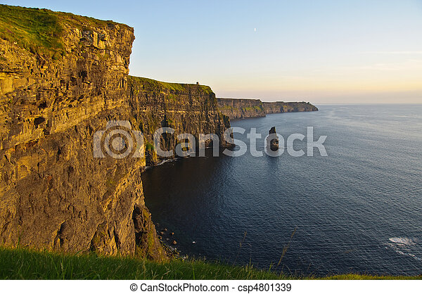 sunset over famous cliffs of moher county clare, ireland - csp4801339