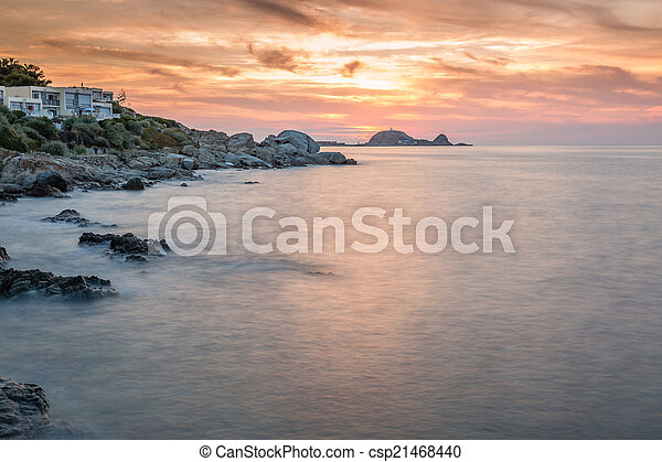 Sunset over Ile Rousse in Corsica - csp21468440