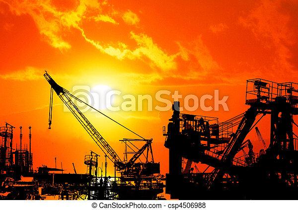 Sunset over industrial harbor  - csp4506988