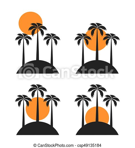 sunset over island whith palm trees vector illustration vector rh canstockphoto com clipart island map clipart island