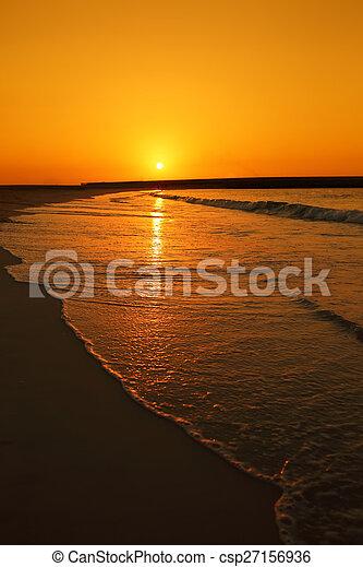 Sunset over Jumeira beach in Dubai. - csp27156936
