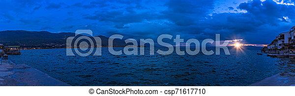 Sunset over Lake Ohrid in Macedonia - csp71617710
