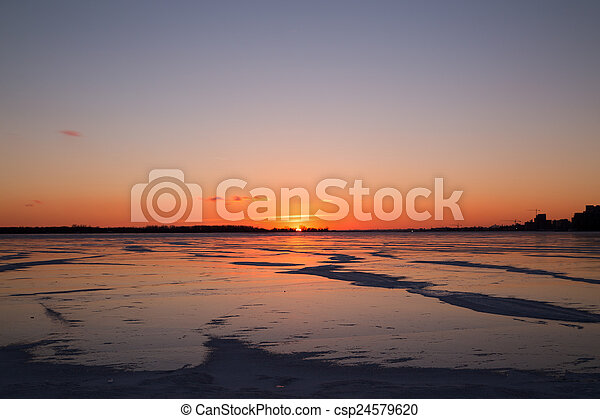 Sunset over Lake Ontario - csp24579620