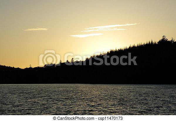 Sunset over lake - csp11470173