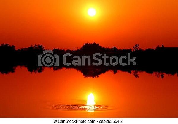 Sunset over Lake - csp26555461