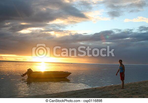 Sunset over Mauritiu - csp0116898