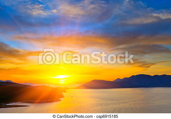 Sunset over mediterranean sea - csp6915185