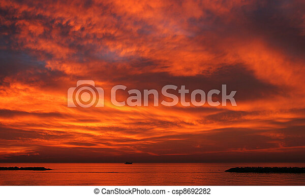 Sunset over Mediterranean Sea. - csp8692282