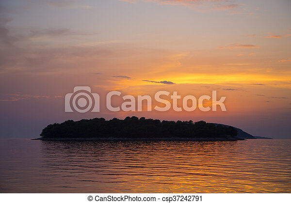 Sunset over mediterranean sea - csp37242791