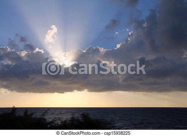Sunset over Mediterranian sea - csp15938225