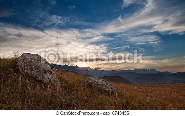 Sunset over mountain - csp10743455