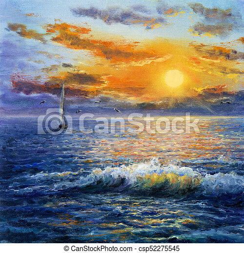 sunset over ocean original oil painting showing waves in ocean or