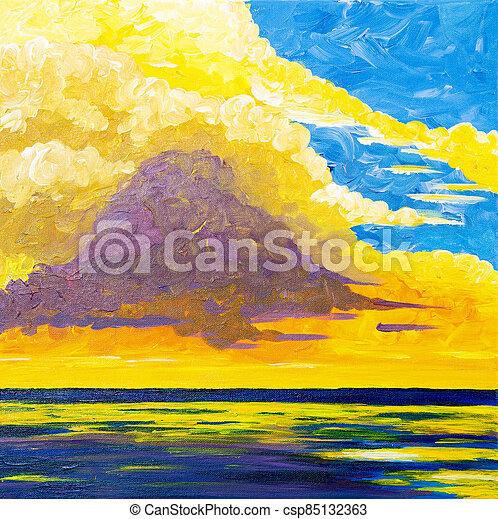 Sunset over ocean - csp85132363