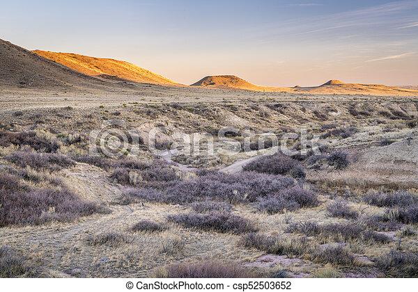 sunset over prairie in northern Colorado - csp52503652