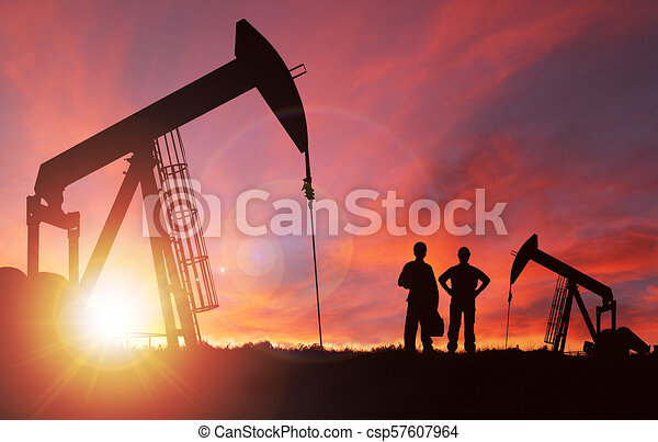 Sunset Over Pumpjack Silhouette With Copy Space - csp57607964