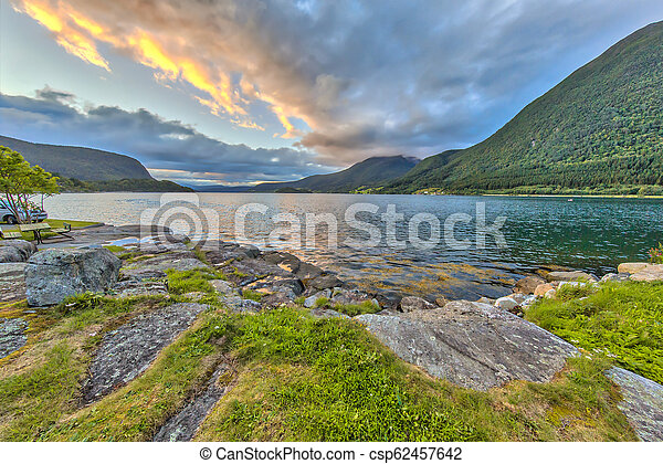 Sunset over Romsdalsfjord - csp62457642