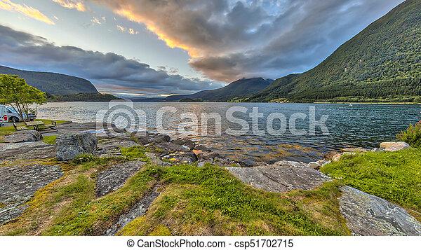 Sunset over Romsdalsfjorden - csp51702715