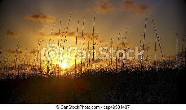 Sunset over sand dunes - csp49531437