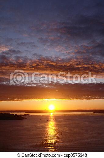 Sunset over Seattle - csp0575348