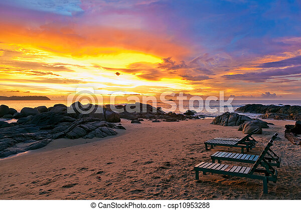 Sunset over the beach - csp10953288