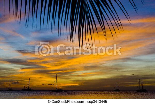 sunset over the Caribbean Sea, Grand Anse Bay; Grenada - csp3413445
