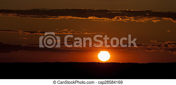 Sunset over the forest. - csp28584169